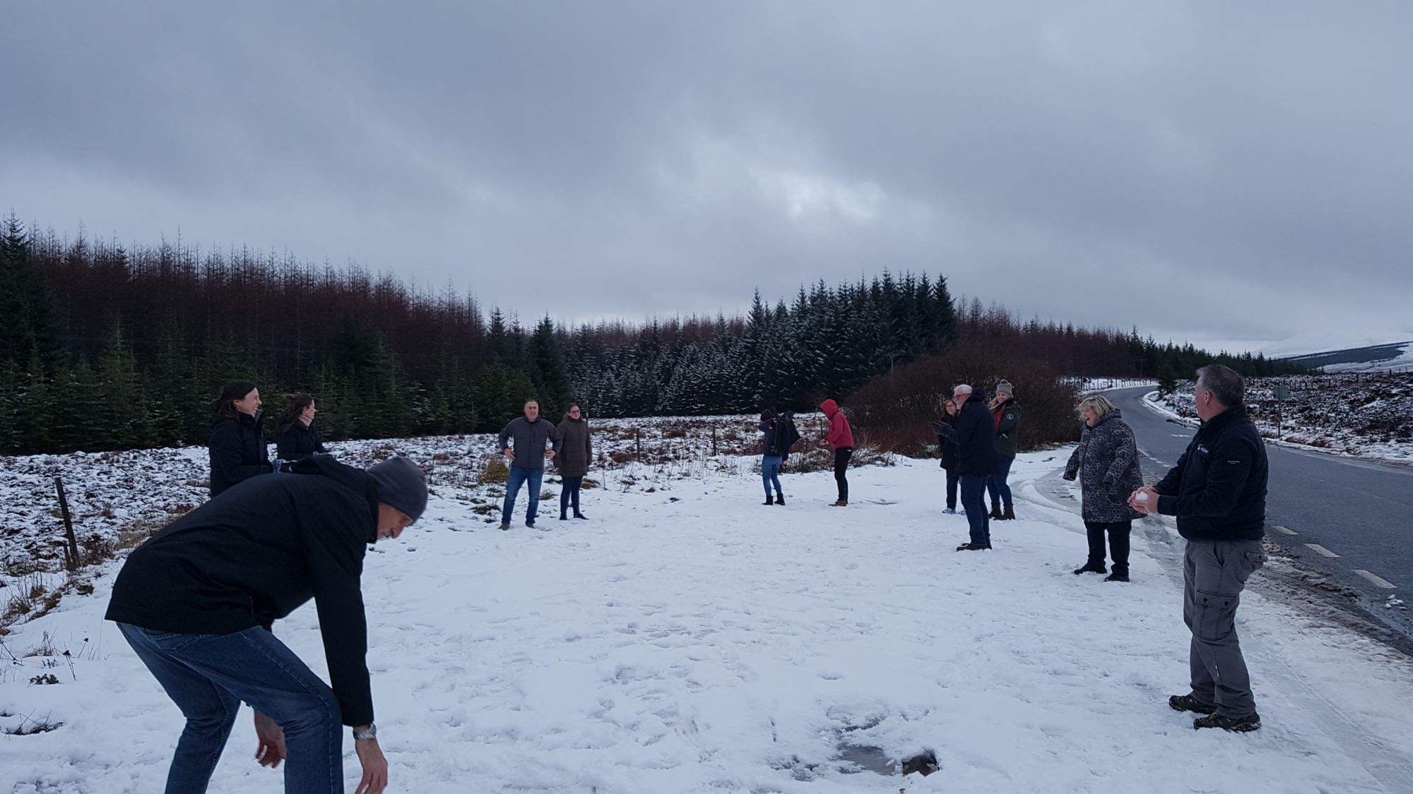 snowball fight on the way back