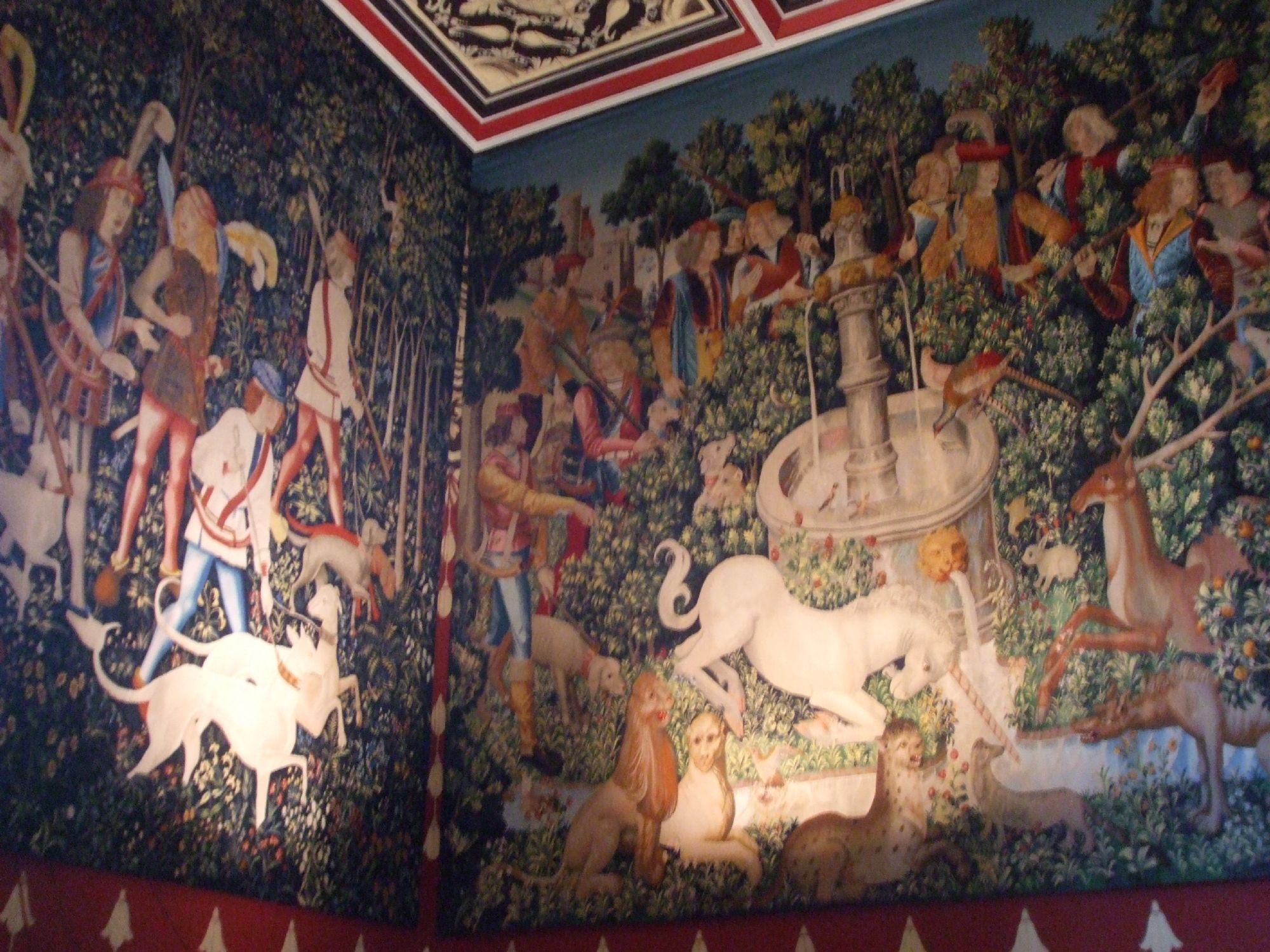Tapestries on bedroom walls