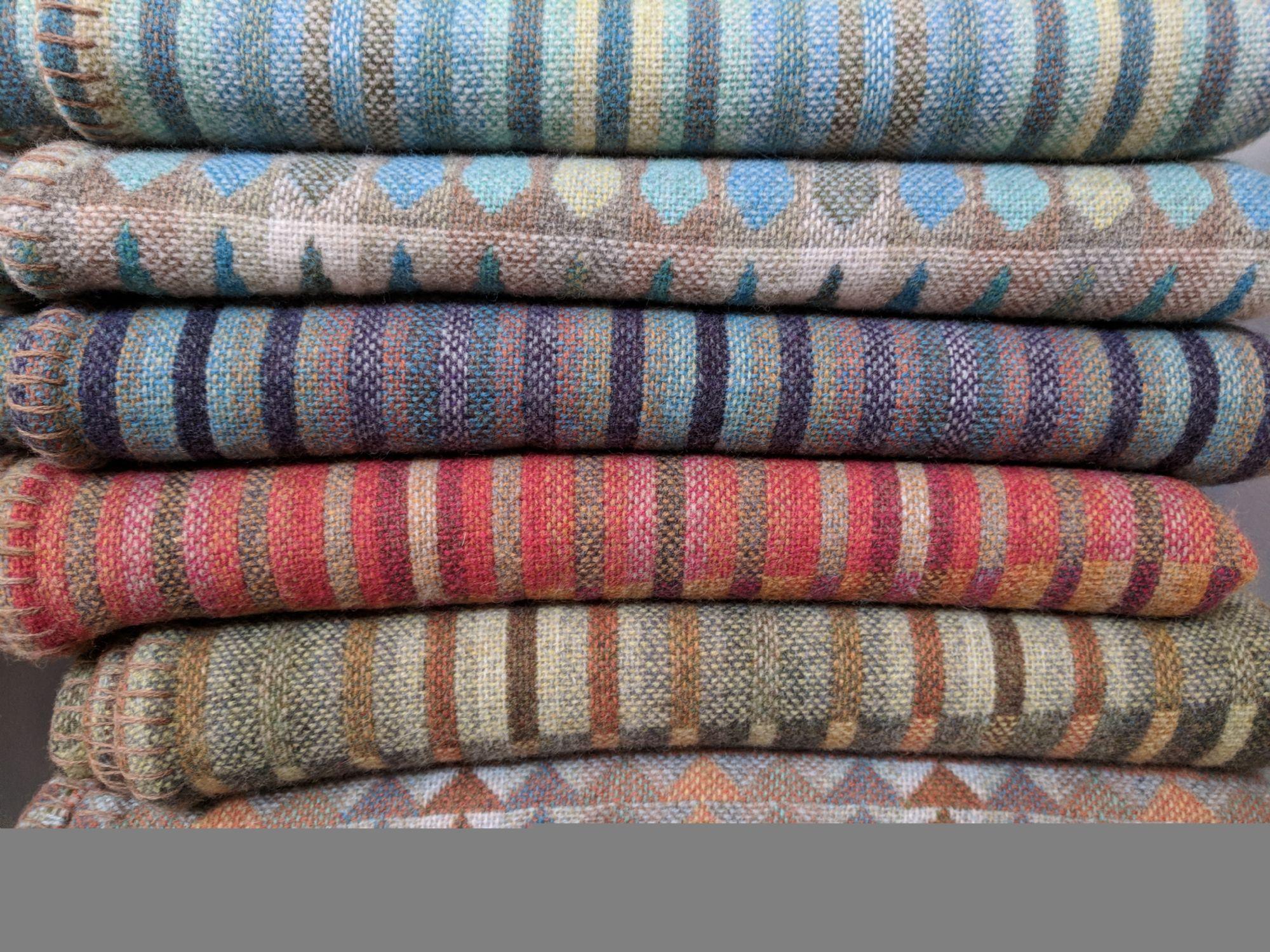 Stack of woolen blankets