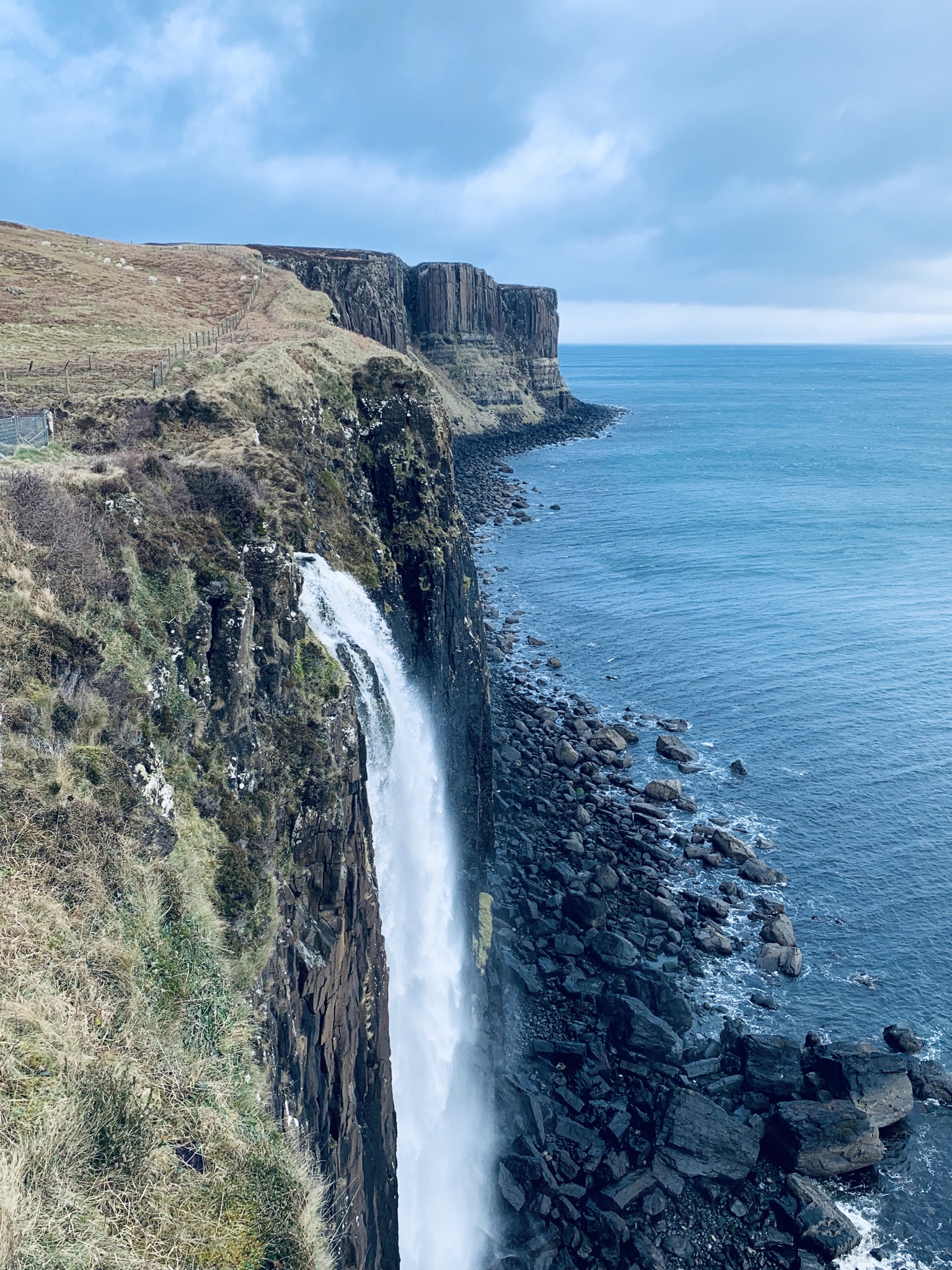 The cliff and the waterfall