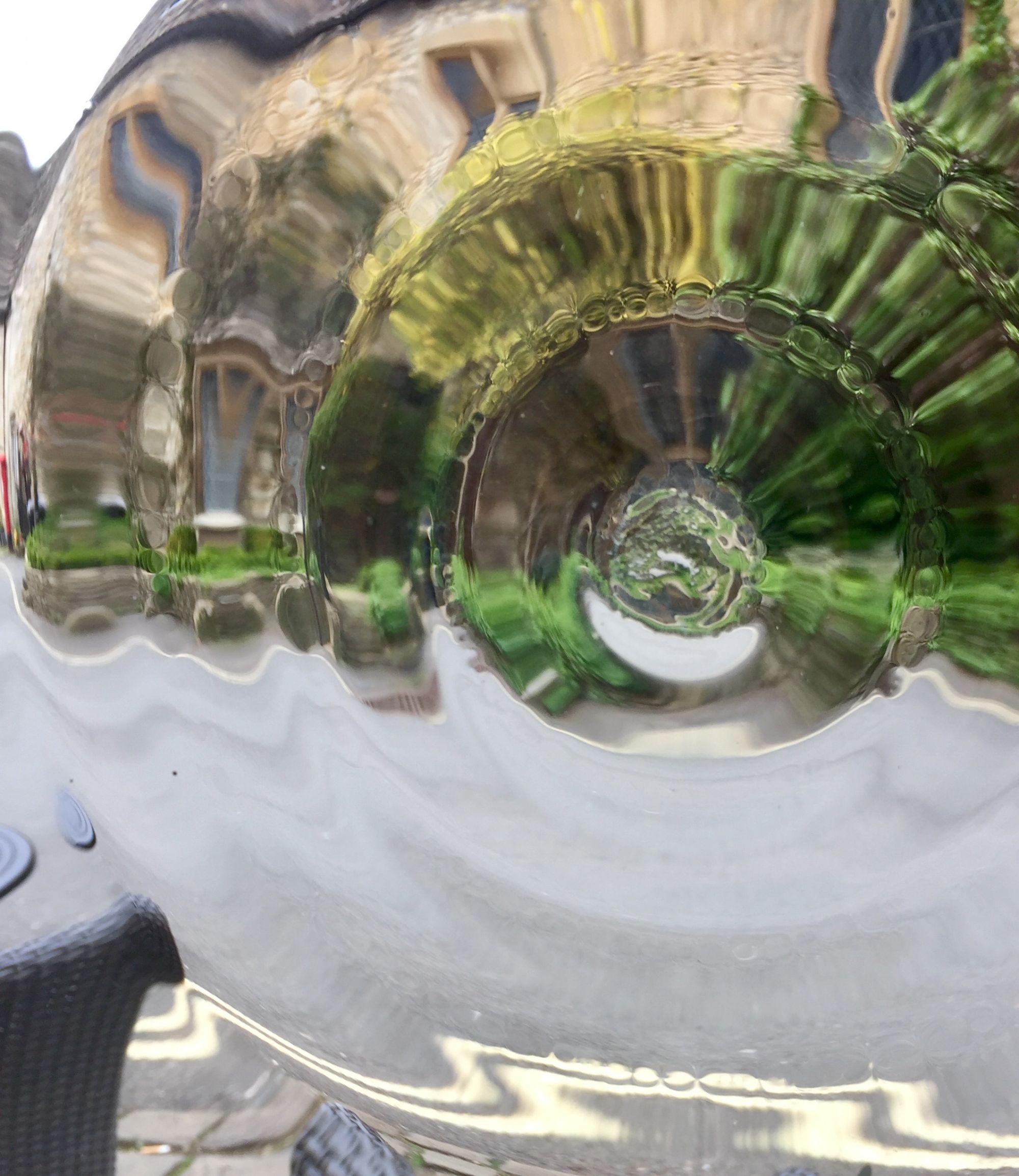 Cotswolds through a pub window